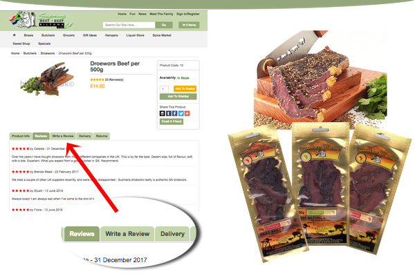 Write a review and win half a kilo of Biltong!