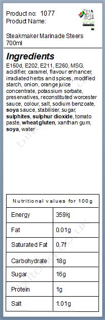 Nutritional information about Steakmaker Marinade Steers 700ml