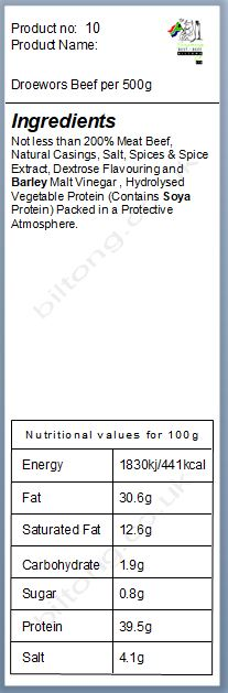 Nutritional information about Droewors Beef per 500g