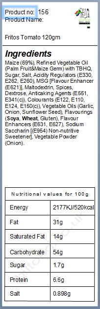 Nutritional information about Fritos Tomato 120gm