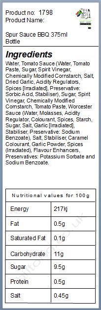 Nutritional information about Spur Sauce BBQ 300ml Bottle