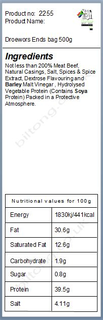Nutritional information about Droewors Ends  bag 500g