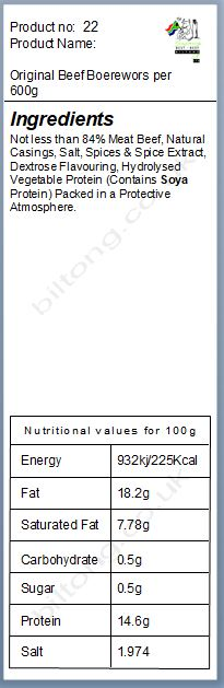 Nutritional information about Original Beef  Boerewors per 600g