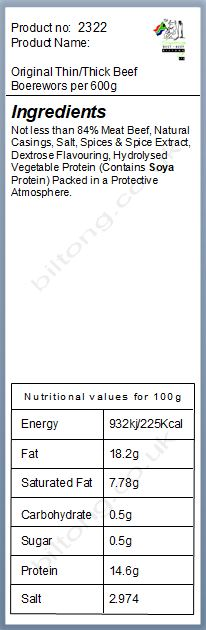 Nutritional information about Original Thin/Thick Beef  Boerewors  per 600g