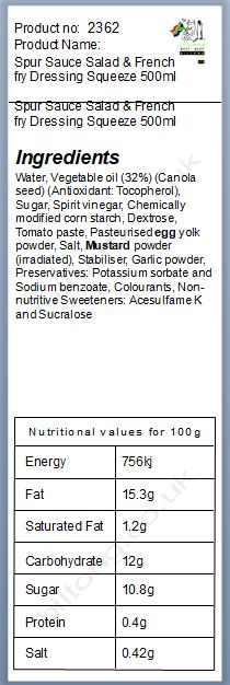 Nutritional information about Spur Sauce Salad & French fry Dressing Squeeze 500ml