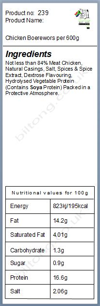 Nutritional information about Chicken Boerewors per 600g