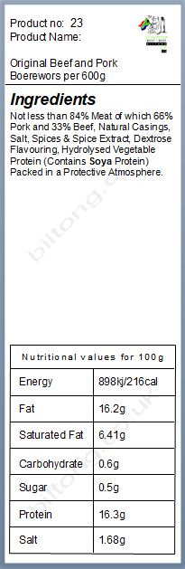 Nutritional information about Original Beef and Pork Boerewors per 600g