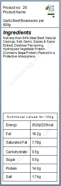 Nutritional information about Garlic Beef Boerewors per 600g
