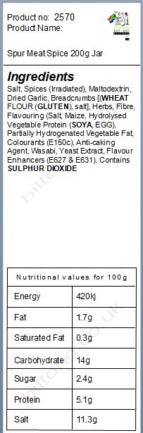 Nutritional information about Spur Meat Spice 200g Jar