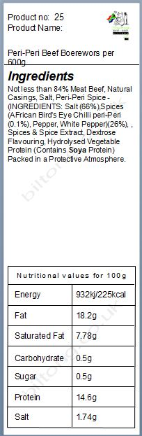 Nutritional information about Peri-Peri Beef Boerewors per 600g