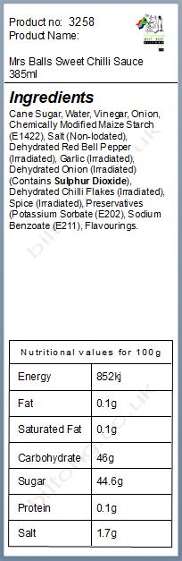 Nutritional information about Mrs Balls Sweet Chilli Sauce 385ml