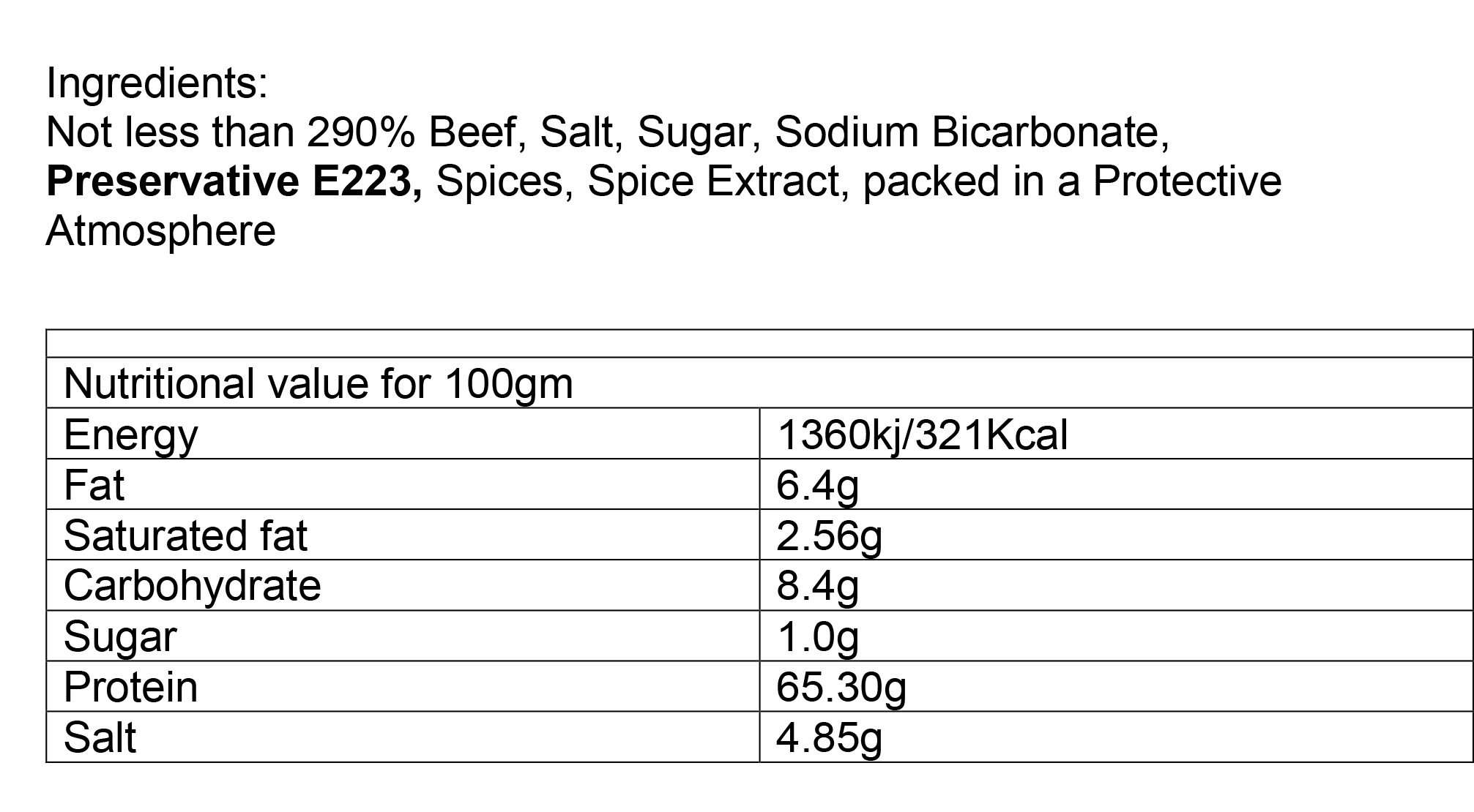 Nutritional information about Beef Biltong Chip Strips 250g