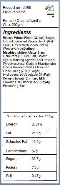 Nutritional information about Romany-Creams Vanilla Choc 200gm