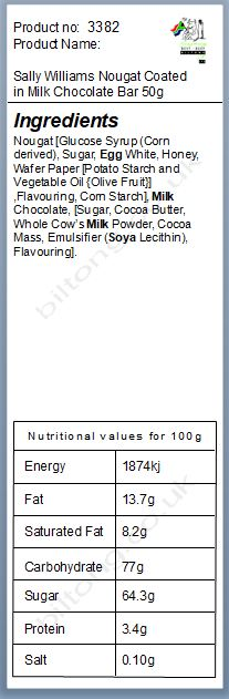 Nutritional information about Sally Williams Nougat Coated in Milk Chocolate Bar 50g