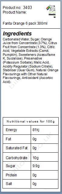 Nutritional information about Fanta Orange 300ml 6 pack