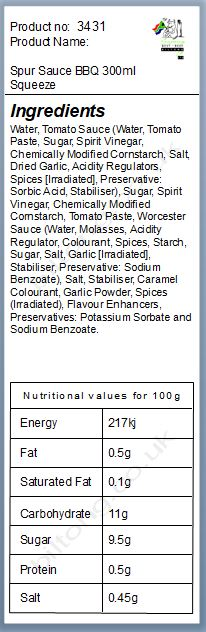 Nutritional information about Spur Sauce BBQ 300ml Squeezy