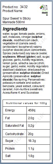 Nutritional information about Spur Sweet 'n Sticky Marinade 500ml