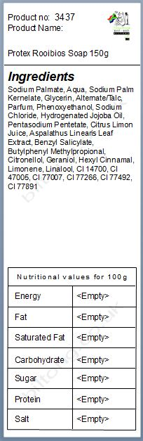 Nutritional information about Protex Rooibios & Lemon Soap 150g