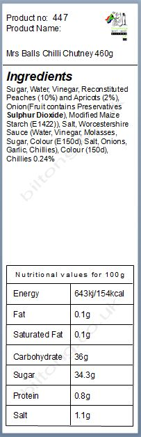 Nutritional information about Mrs Balls Chilli Chutney 460g
