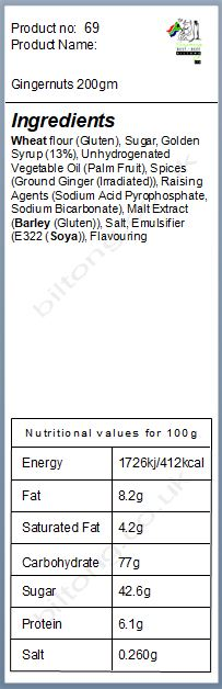Nutritional information about Gingernuts 200gm