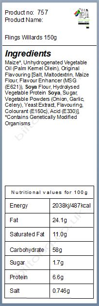 Nutritional information about Flings Willards 150g