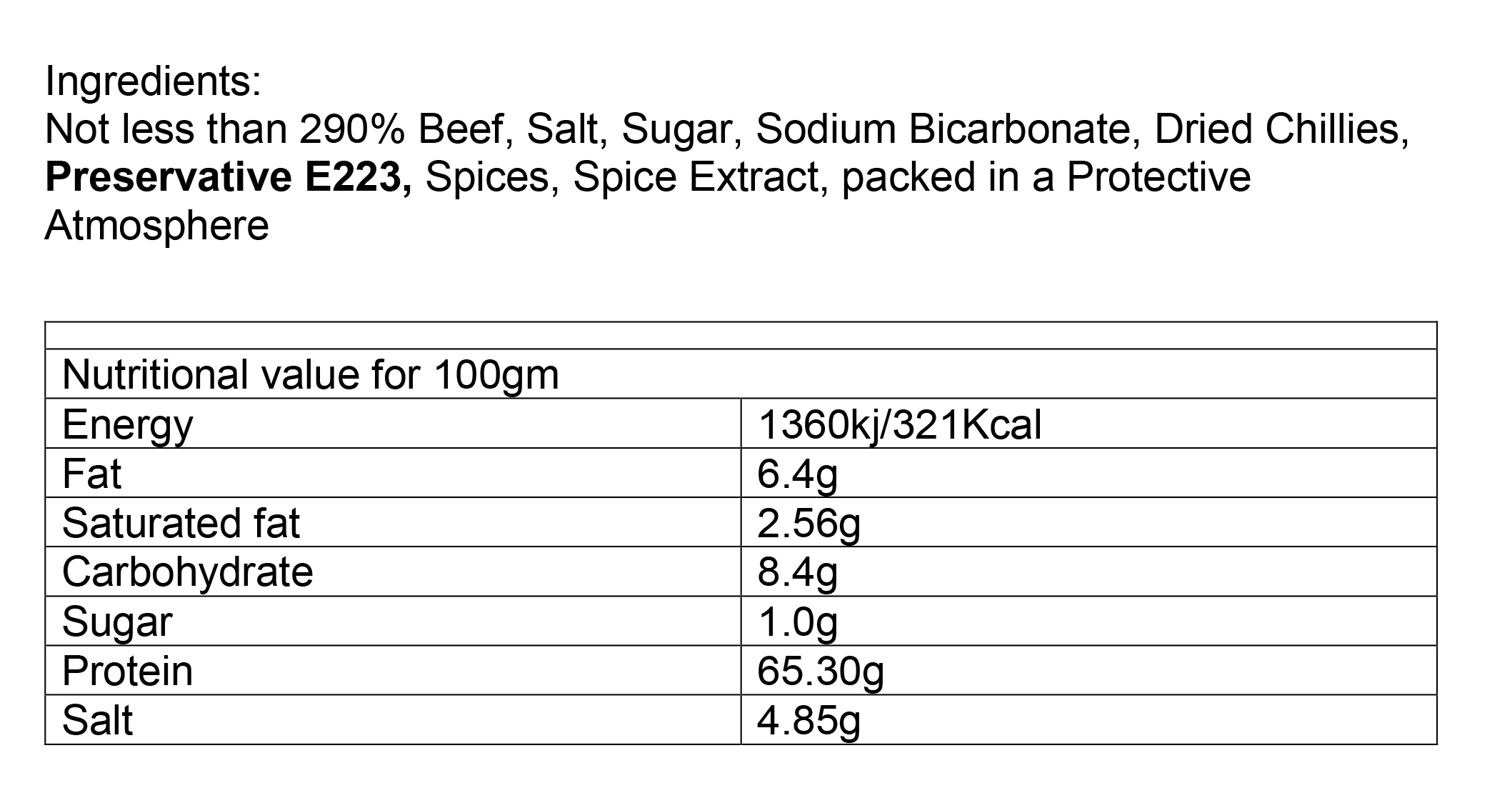 Nutritional information about Beef Chilli Bites 30gm Pre-pack