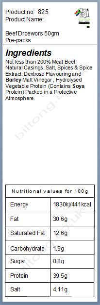 Nutritional information about Beef Droewors 50gm Pre-packs