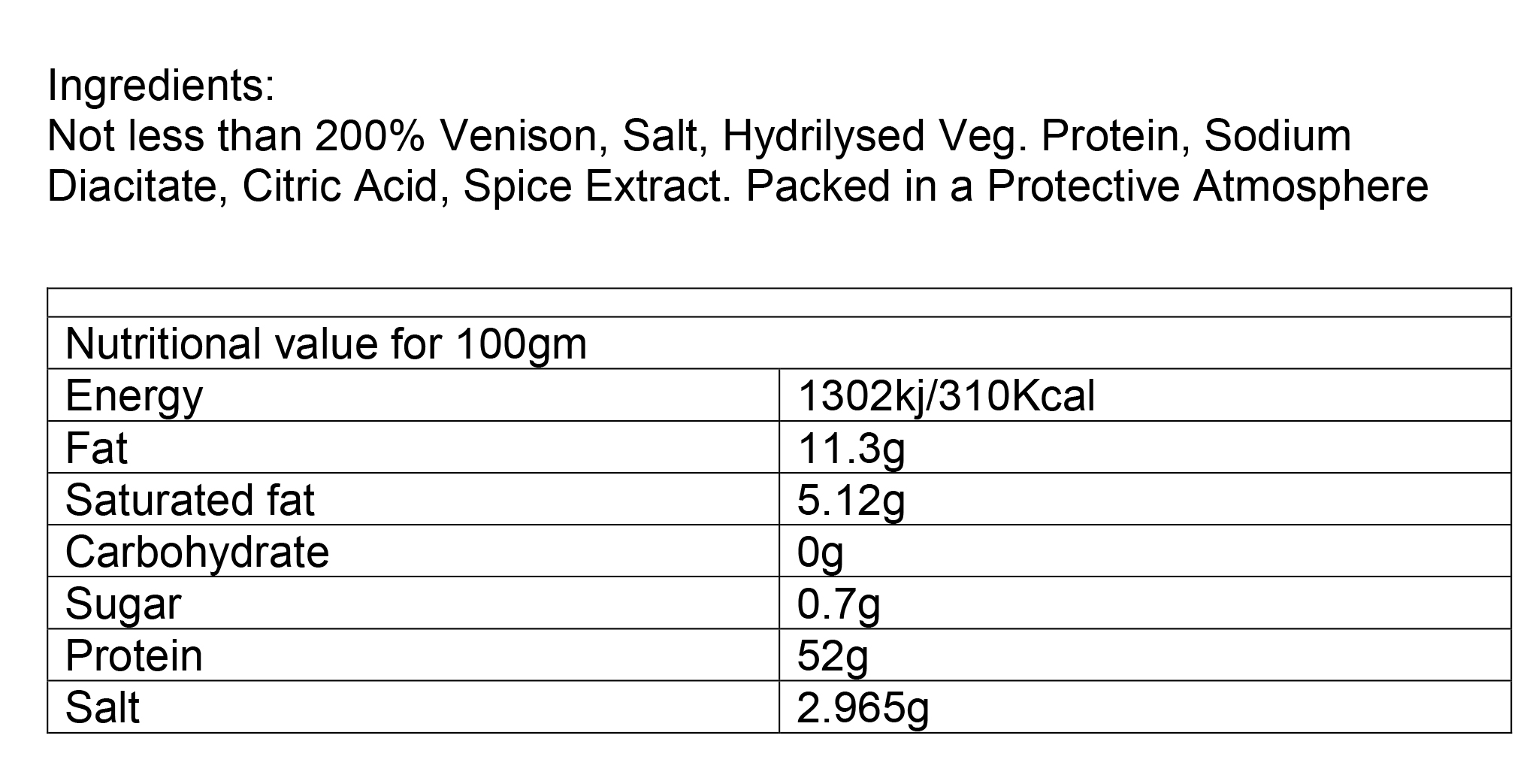 Nutritional information about Game Biltong per 500g