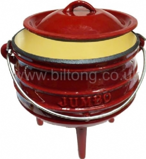 Red Enamelled Potjie Pots Size 1 with lid