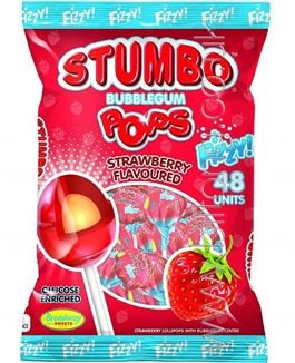 Stumbo Bubblegum Strawberry Fizzy Pops x 5
