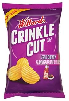 Willards Crinkle Cut Chutney Chips 125g