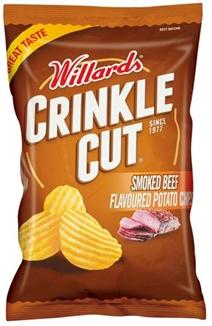 Willards Crinkle Cut Smoked Beef Chips 125g