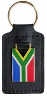Keyring with Leather backing South African Flag