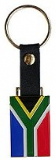Keyring with Leather strap South African Flag
