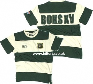 2011 T-Shirt Bottle Green & Beige Stripe